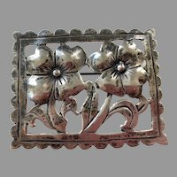Sterling Silver Flowers In Frame Pin
