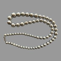 Taxco Mexico Long Sterling Graduated Bead Necklace