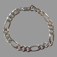 Italian Sterling Figaro Unisex Bracelet 22.72 Grams