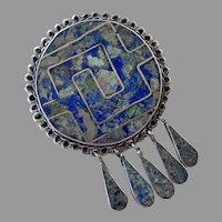 Mexican Sterling Taxco Inlay Stone Pin / Pendant With Dangles