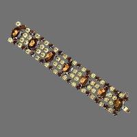 1950's Wide Glitzy Rhinestone Bracelet