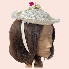 Child's Doll Cream Straw Hat With Ribbons and Flowers