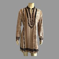 Vintage European Tunic Top With Belt Shades Of Brown