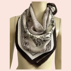 Made In Italy 100% Wool Square Scarf Shades Of Brown
