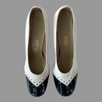 Golo Leather Modified Spectator Pumps Shoes 8M 1960's 70's Slightly Worn