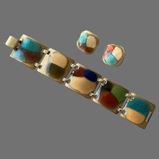 Vintage Kay Denning Enamel On Copper Bracelet Earrings Set 1960's 70's