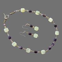 Artist Made Amethyst & Serpentine Beaded Necklace Earrings Set