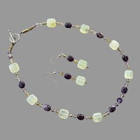Artist Made Amethyst & Serpentine Beaded Necklace Earrings Set