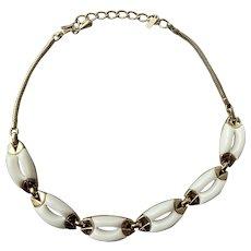 Monet Modernist Gold Tone & White Glass Choker Necklace