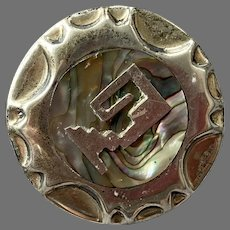 Mexican Sterling Abalone Pin / Pendant