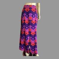 Vintage 1960's Mod Pattern Wool Maxi Skirt As Is