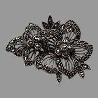Vintage Sterling Marcasite Floral Pin