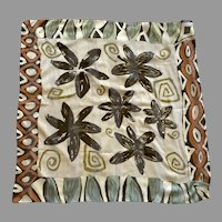 Sheer Polyester Abstract Floral Scarf By Elaine Gold Made In Italy
