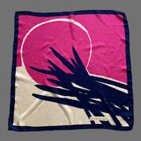 1960's Navy Pink White Silk Givenchy Scarf Made In Japan