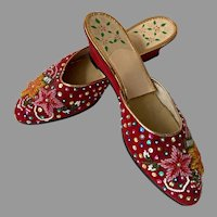 Vintage Beaded & Sequined Shoes / Slippers Made In Hong Kong