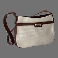 Ettiene Aigner Woven Fabric Purse Shoulder Bag With Dark Brown Trim