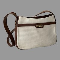 Ettiene Aigner Woven Fabric Purse Shoulder Bag With Dark Brown Trim
