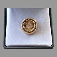 Victorian Gold-Filled Taille D' Epargne Round Pin Pendant