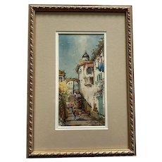 European Street Scene Framed Watercolor Artist Signed