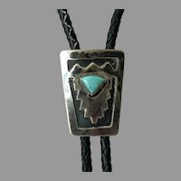 Native American Hand Made Sterling Bolo Tie With Blue Ridge Turquoise
