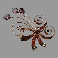 1940's Retro Sterling Rose Gold Vermeil Floral Spray Bow Pin With Purple Stones