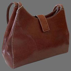 Vintage Chocolate Brown Leather Fossil Shoulder Bag Purse