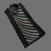 Sleeveless Black Woven Ribbon Top With Pink Green Beads