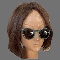 Vintage 1950's Turquoise Glitter Sunglasses