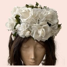 Vintage 1950's Hat With White Roses  & Green Leaves