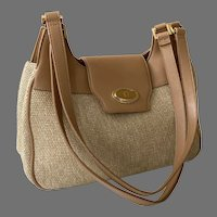 Ettiene Aigner Woven Jute Shoulder Bag Purse With Tan Trim