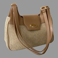 Ettiene Aigner Woven Jute Shoulder Bag Purse With Tan Trim