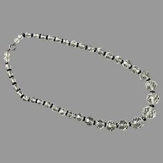 Art Deco Faceted Rock Crystal Beaded Necklace