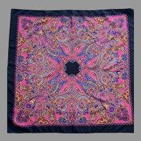 Vintage Silk Paisley Pink, Blue, Red, Black, Mustard Square Scarf