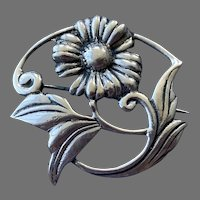Sterling Silver Flower and Leaves Pin