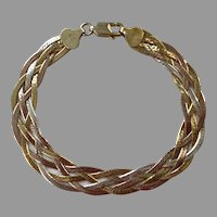 Italian Made Tri Color Sterling Vermeil Woven Chain Bracelet