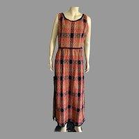 Vintage Parade New York Wool Tweed Plaid Maxi Hostess Dress
