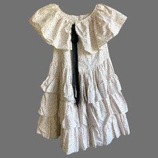 Vintage Young Girl's Calico Print Flounce Dress With Matching Bonnet