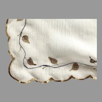 Small French Silk Chiffon Scarf With Hand Painted Gilt Scalloped Edge