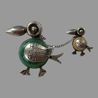 Mexican Sterling Onyx Chatelaine Double Bird Pin
