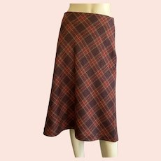 1980's Plaid Wool A-Line Skirt Made In Italy Willie Smith