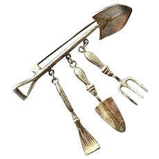 Sterling Silver Gardening Tools Pin