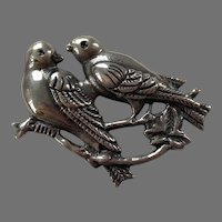 Mexican Sterling Two Birds On A Branch Pin 1940's