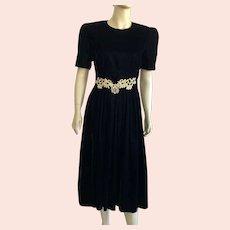REDUCED Vintage 1980's Jessica Howard Black Velvet Evening Dress With Gold Applique