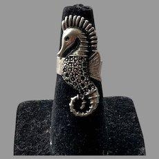 Sterling Figural Seahorse Adjustable Ring
