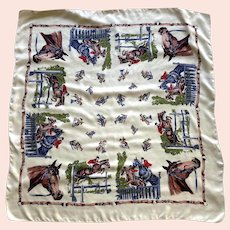 Vintage Silk Equestrian Horse Theme Scarf Made In England For Neiman Marcus