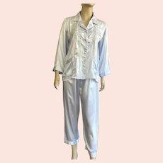 Chinese Silk Baby Blue Embroidered Pajamas