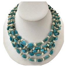 Five Strand Turquoise Mother-Of-Pearl Necklace Sterling Clasp