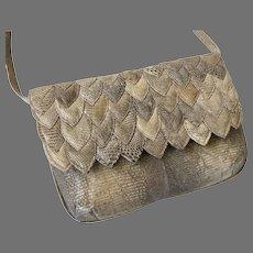 Vintage Lizard Shoulder Bag / Clutch Purse By R. Saldana