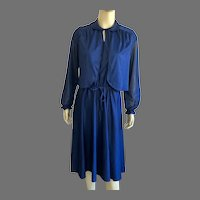 1960's Navy Blue Polyester Dress With Matching Jacket By Boston Maid