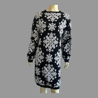 1980's Black & White Snowflake Sweater Dress By Allison Blair M